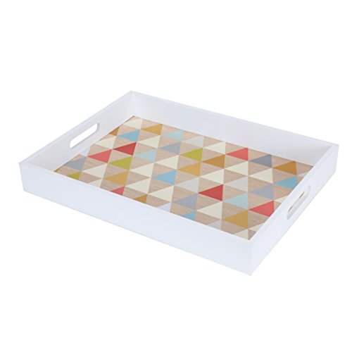 Blu Monaco Wood Serving Tray with Carrying Handles -White Border, Fun Multi Colorful, Triangle - SpruceBay - Ample Organization and Great Style - Whimsical, Modern Design for the Home