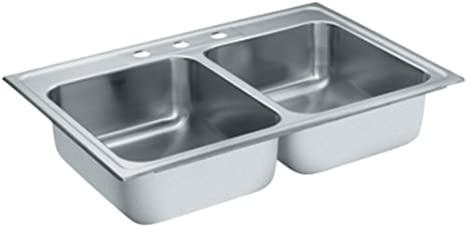 "Moen 22317 Lancelot 8"" Deep Centered Double Bowl 3-Hole Drop-In Kitchen Sink - Stainless Steel"