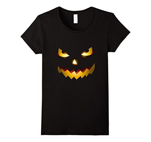 [Women's The Official Scary Face Halloween Costume Tee Shirt Medium Black] (Scary Scarecrow Halloween Costumes)