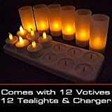LED Rechargeable Flameless Tea Light Candles with Difused Votives. Set of 12, By Lilys Home
