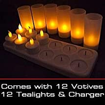 LED Rechargeable Flameless Tea Light Candles with Difused Votives. Set of 12 By Lily's Home