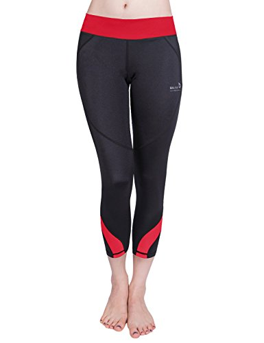 Baleaf Women's Workout Running Capri Leggings Red Size M