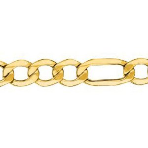 14K Solid Yellow Gold Figaro Lite Chain Necklace 6.5mm thick 24 Inches
