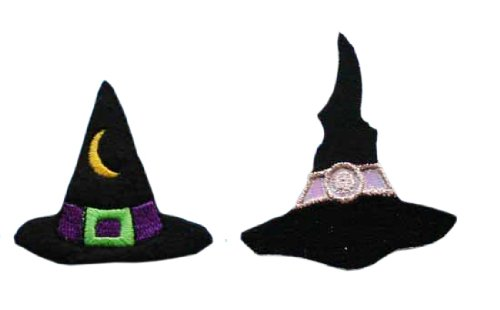 ID #0901AB Witches Hat Halloween Trick Treat Embroidered Iron on Applique Patch Lot Of 2