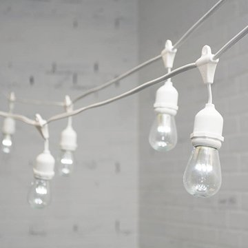 Commercial Led Edison Drop String Lights, 100 Ft White Wire, S14, Cool White
