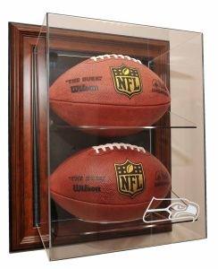 "Seattle Seahawks 2 Football ""Case-Up"" Display, Brown"