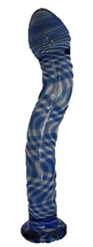 ガラス製 ロッド インテリア 湾曲 クリスタル ブルー 直径:30mm 長さ: 200mm