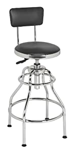 Sealey SCR14 Workshop Stool Pneumatic with Adjustable Height Swivel Seat and Back Rest from Sealey
