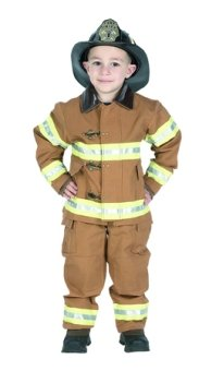 Jr Fire Fighter Suit (Tan) w/ Helmet Child Costume Ages 6-8 (BFFT-68)