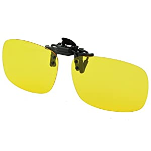 Yellow Night Vision Retro Polarized Clip-on Flip-up AVIATOR Plastic Sunglasses Driving Traveling-5.3X2.4X1.4 INCH from Careview