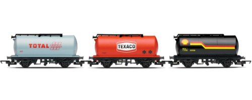 Hornby R6366 00 Gauge Fuel Train: Shell Tanker, Texaco Tanker, Total Tanker Railroad Rolling Stock