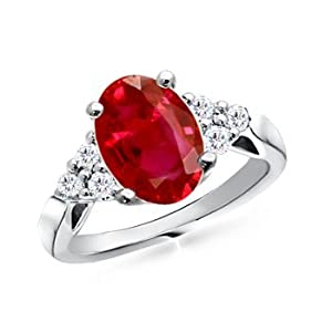 Oval Ruby and Diamond Cocktail Ring in Platinum