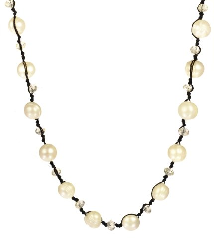 White Baroque Freshwater Pearl and Cut Glass Rondelle on Waxed Cotton Thread Silver Tone Clasp Necklace 36