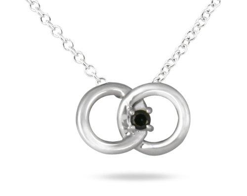 Black Diamond Circle Link Pendant