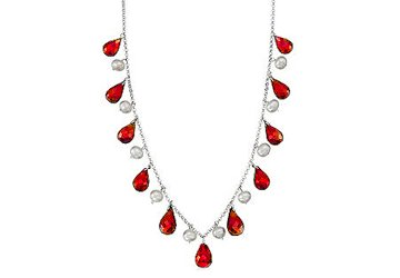 Forty Carat Created Ruby Teardrop Necklace with Cultured Pearl Set in 925 Sterling Silver Chain available at Amazon for Rs.11556