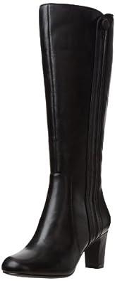 (大促)其乐Clarks 女士冬季新款 睿叶真皮高筒靴黑Tamryn Leaf Boot折后$96.39