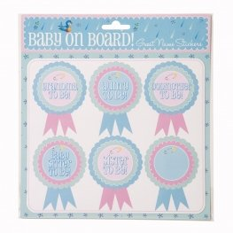 Baby Shower Named Rosette Stickers, Set Of 18 front-334573