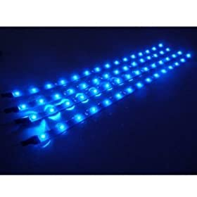 4 Pcs 30cm Car Truck Flexible Waterproof LED Light Strip Blue
