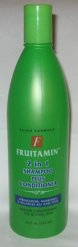Fruitamin Salon Formula 2 in 1 Shampoo Plus Conditioner ~ Strengthens, Nourishes, & Balances All Hair Types ~ Medium Conditioning For Normal Hair ~ 24 fl. oz. (732 ml)