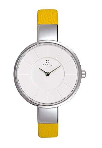 Obaku Denmark Womens V149LXCIRY Stainless Steel Case White Dial Mustard Strap Watch