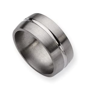 Titanium Grooved 10mm Satin and Polished Band Ring