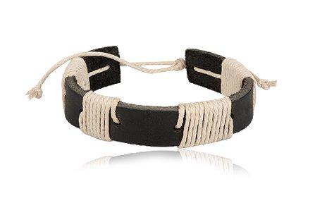 Fashion Black & Light Brown Leather Wrap Cuff Bracelet Bangle Men's Jewelry