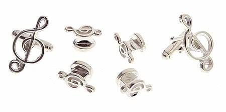 Handmade sterling silver treble cufflinks and shirt stud set. Made in the USA