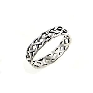 narrow 4mm neverending celtic knot sterling silver pinky ring