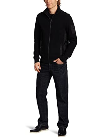 Kenneth Cole New York Men's Full Zip Knit Jacket, Black, XX-Large