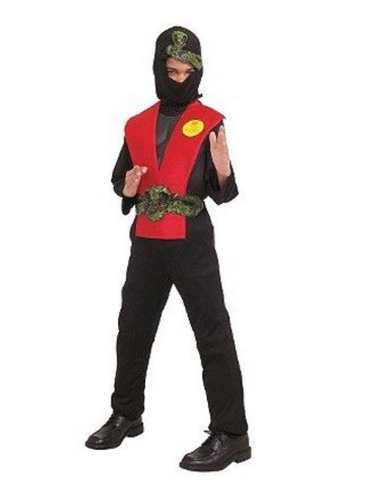 Deluxe Muscle Ninja Red Dress Up Halloween Costume - Size Child One Size Fits Most