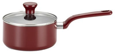 T-Fal/Wearever C9122464 Excite Non-Stick Cherry Red 3 Quart Covered Sauce Pan Cookware, Non-Stick Open Stock