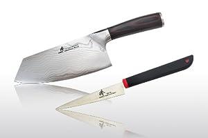 "Zhen Japanese Damascus Vegetable Chopping Knife 7"" + Fruit Carving Knife 4.0"" Knife set, 2-piece"