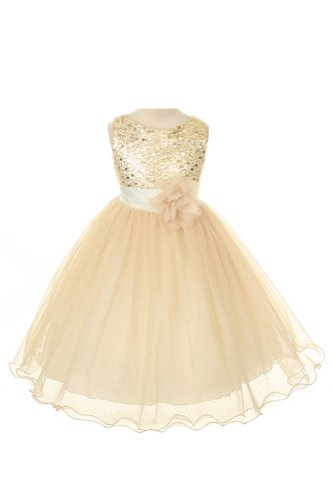 Sequin Bodice Tulle Special Occasion Holiday Flower Girl Dress – Gold 5-6