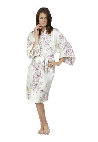 7fb9a3931e Beautiful Robes Women s Cherry Blossom In Spring Silk Kimono White Short