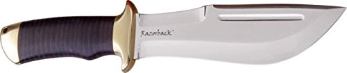 Down Under Knives Razorback Fixed Blade Knife, 7In, Black Leather Wrapped Handle Dukrb