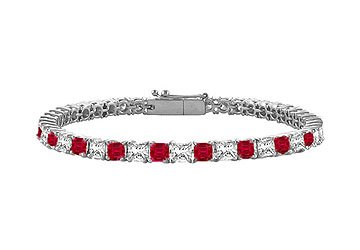 Ruby Diamond Princess Cut Platinum Tennis Bracelet 2.00 CT TGW
