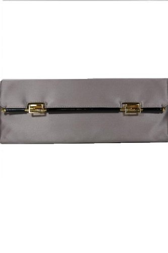 Fendi Handbags Light Grey Satin Clutch 8BP032