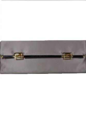 Fendi Handbags Light Grey Satin Clutch 8BP032