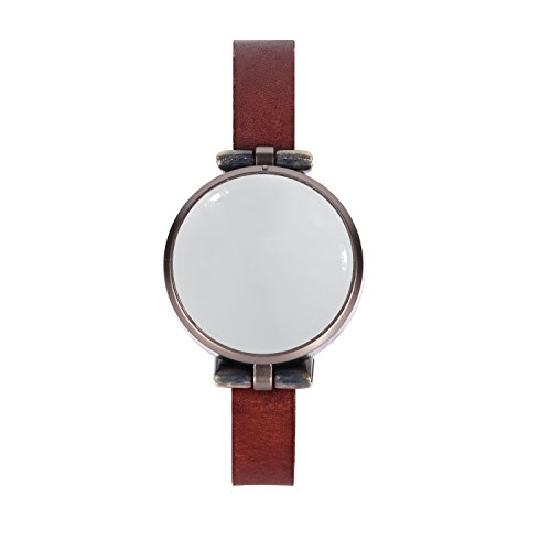 Women's fashion and safety smartwatch - one-touch: emergency siren, GPS location messaging to guardians / loved ones, capture and send pictures and voice recordings. Mirror face. Slim leather strap. (Send Picture compare prices)