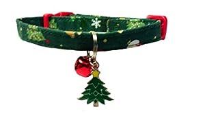 Christmas Breakaway Cat Collar With Christmas Tree Charm