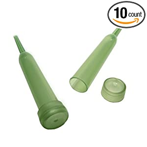 Five-Inch Translucent Green Floral Water Pik Tube With Cap