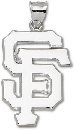 San Francisco Giants Giant 1 1 4 W x 1 3 4 H SF Pendant - Sterling Silver Jewelry by Logo Art