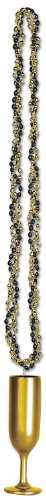 Braided Beads w/Champagne Flute Medallion (black & gold) Party Accessory(1 count) (1/Card)