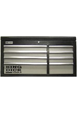 King Dick Top Chest Long 8 Drawer Black and Grey - TTCL8BG