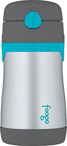 THERMOS FOOGO Vacuum Insulated Stainless Steel 10-Ounce Straw Bottle, Charcoal/Teal