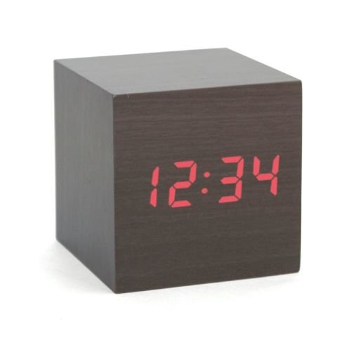 Kabb Fashion Cube Mini Black Wooden Grain Red Led Light Alarm Clock With Time And Temperature Display & Sound Control