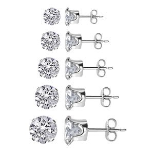 TDEZ-ROUND-SET Nickel Free Sterling Silver 3mm 4mm 5mm 6mm & 7mm Round Sparkling Clear Cubic Zirconia Stud Earrings Set
