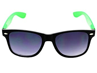 Neon Black & Green Plastic Wayfarer Sunglasses 80's