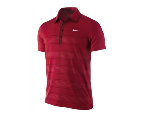 NIKE Polo de Tennis Trophée Roger Federer à Rayures pour Homme, Rouge, M
