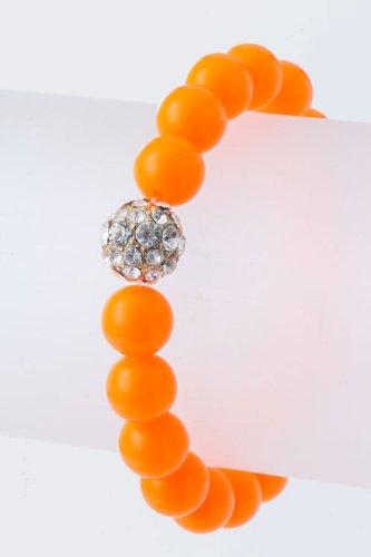 Baubles & Co Crystal Ball Beaded Bracelet (Neon Orange)